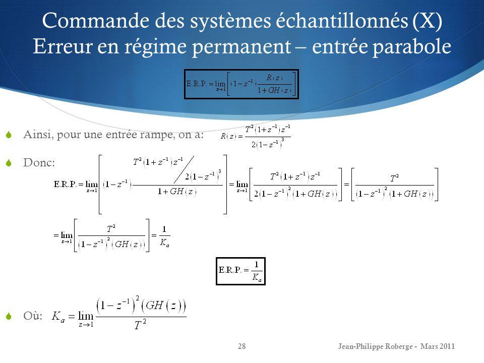 Commande des systèmes échantillonnés (X) Erreur en régime permanent – entrée parabole