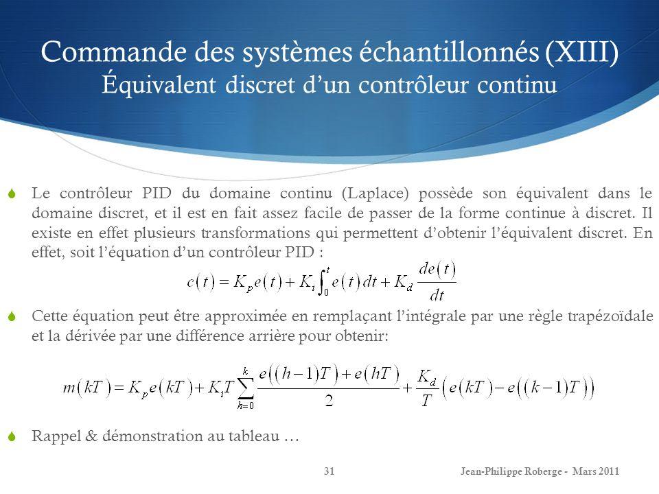 Commande des systèmes échantillonnés (XIII) Équivalent discret d'un contrôleur continu