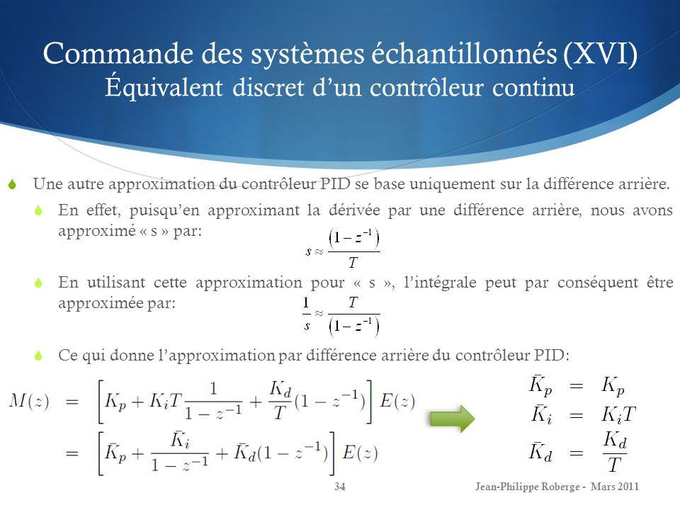 Commande des systèmes échantillonnés (XVI) Équivalent discret d'un contrôleur continu