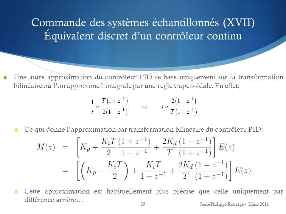 Commande des systèmes échantillonnés (XVII) Équivalent discret d'un contrôleur continu