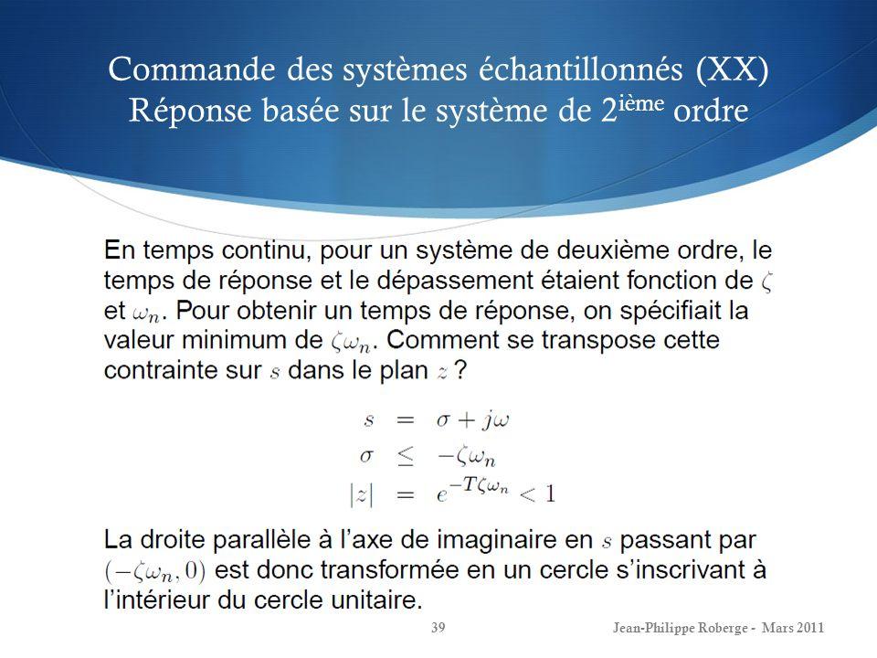 Commande des systèmes échantillonnés (XX) Réponse basée sur le système de 2ième ordre