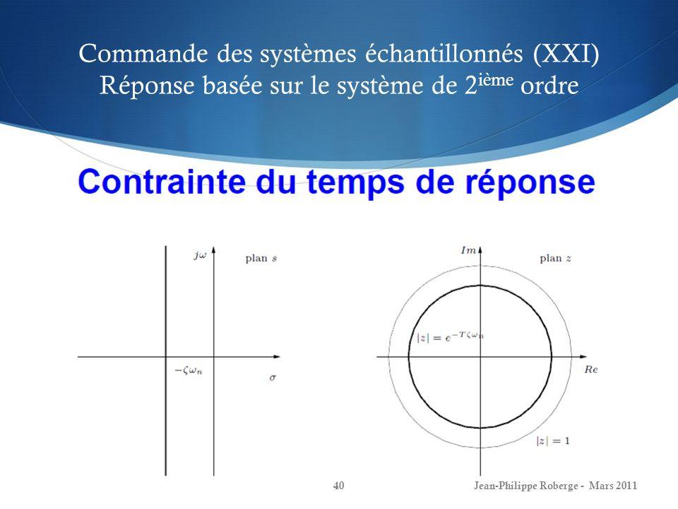 Commande des systèmes échantillonnés (XXI) Réponse basée sur le système de 2ième ordre