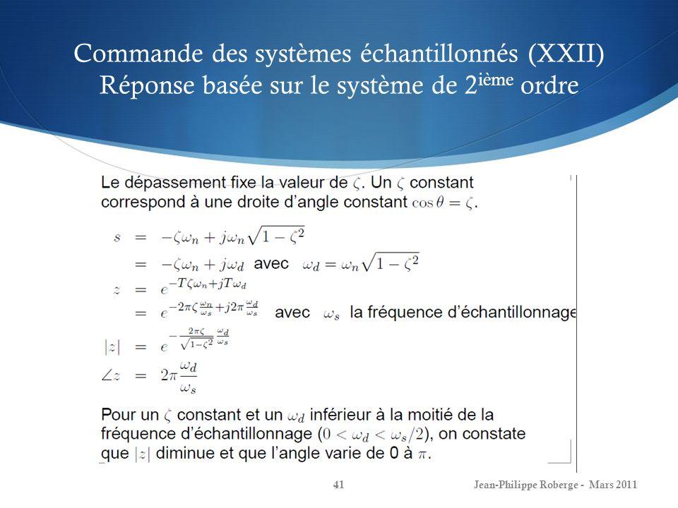 Commande des systèmes échantillonnés (XXII) Réponse basée sur le système de 2ième ordre