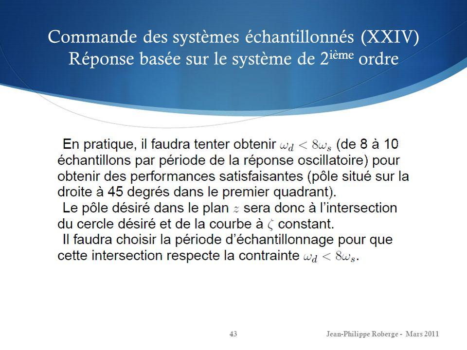 Commande des systèmes échantillonnés (XXIV) Réponse basée sur le système de 2ième ordre