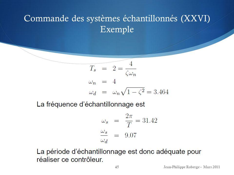 Commande des systèmes échantillonnés (XXVI) Exemple