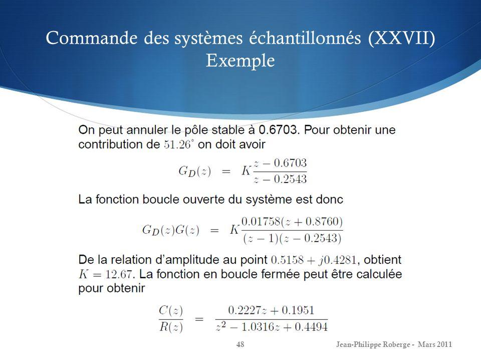 Commande des systèmes échantillonnés (XXVII) Exemple