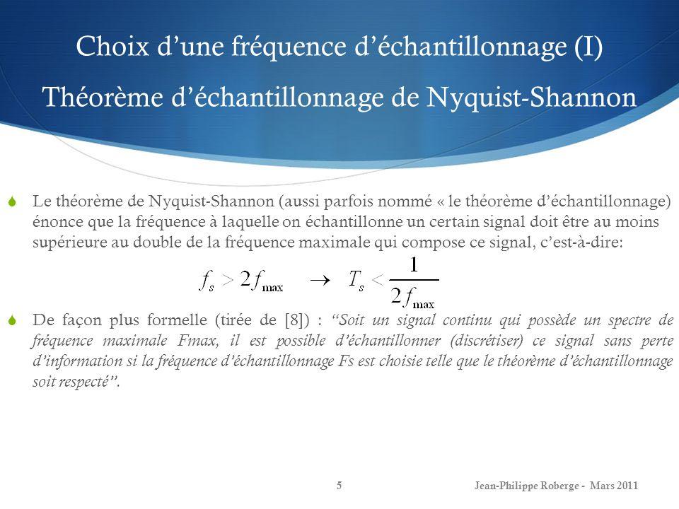 Choix d'une fréquence d'échantillonnage (I) Théorème d'échantillonnage de Nyquist-Shannon