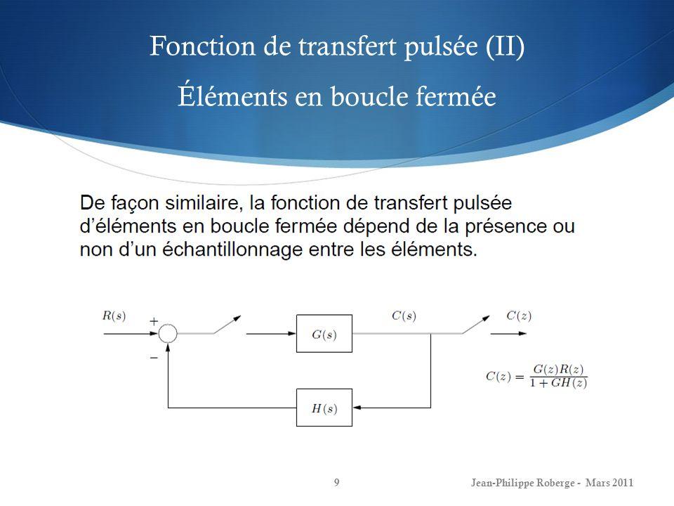 Fonction de transfert pulsée (II) Éléments en boucle fermée