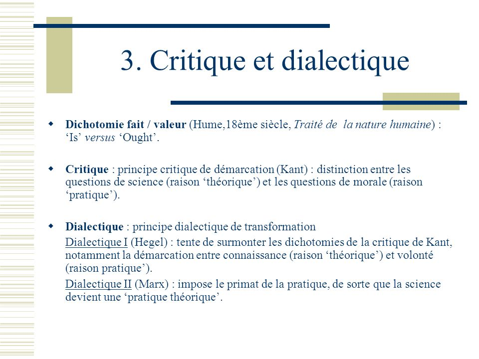3. Critique et dialectique