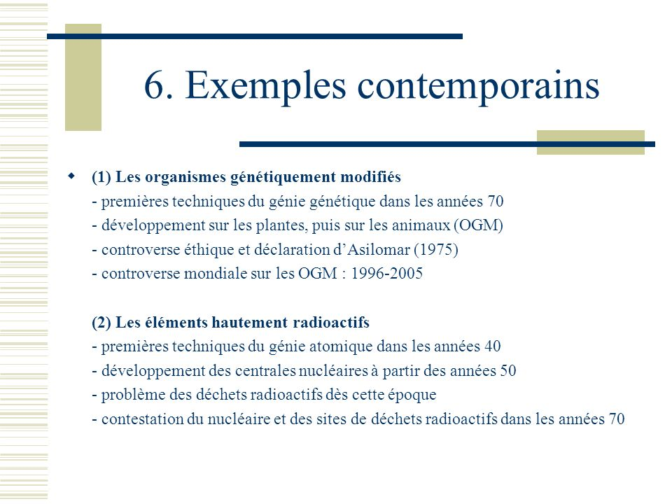 6. Exemples contemporains