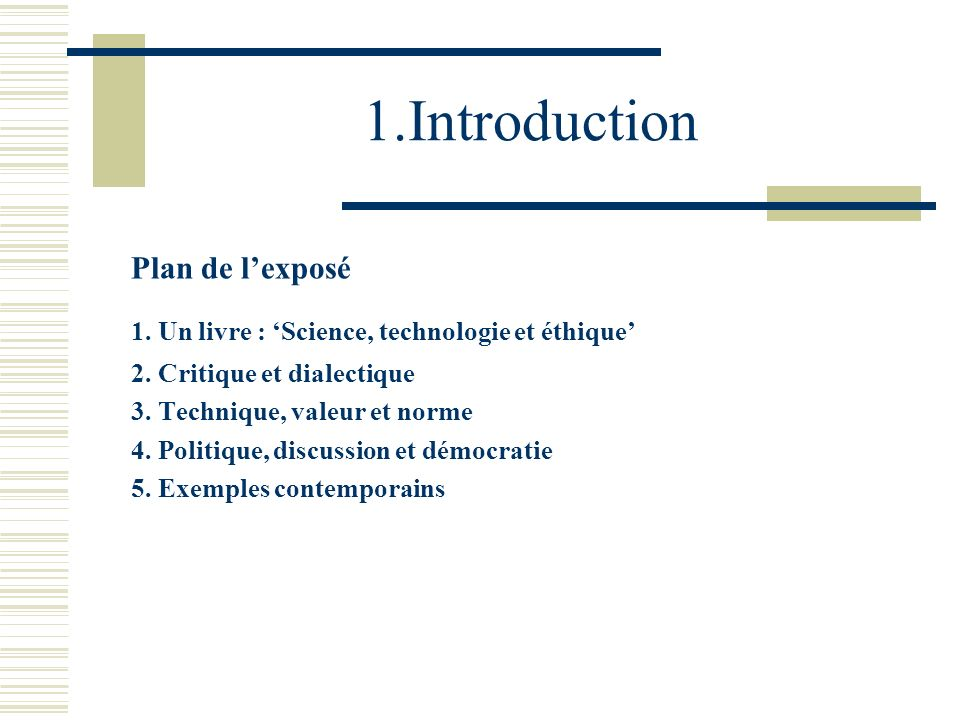1.Introduction Plan de l'exposé