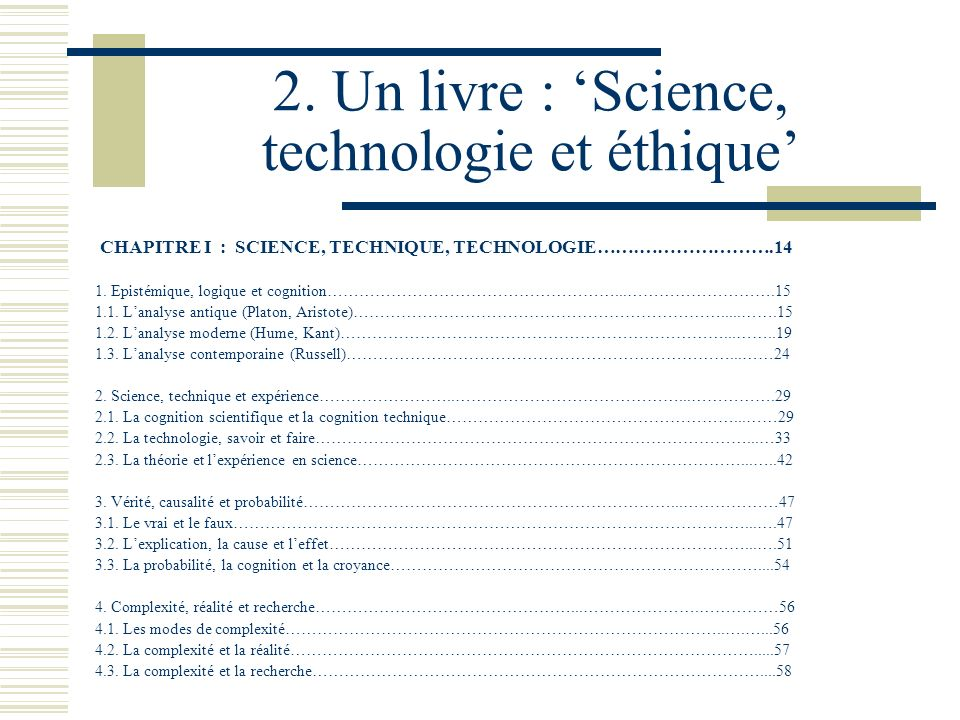 2. Un livre : 'Science, technologie et éthique'