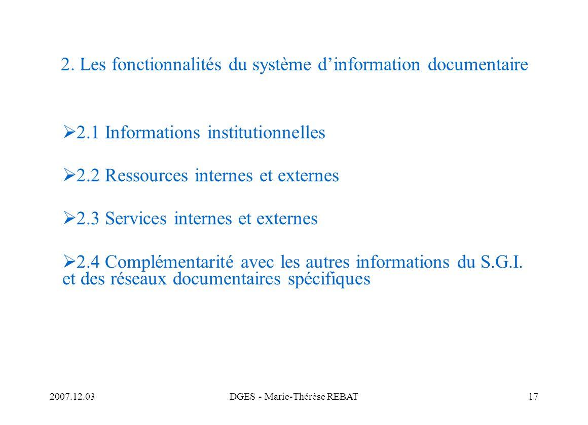 2. Les fonctionnalités du système d'information documentaire