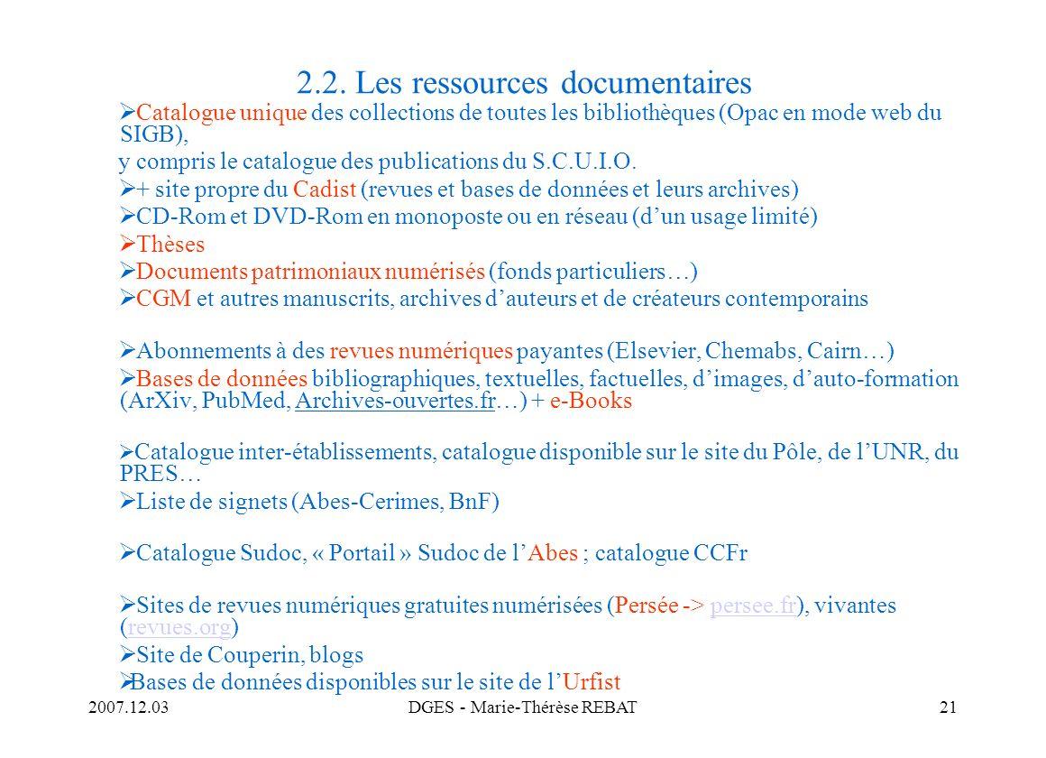 2.2. Les ressources documentaires