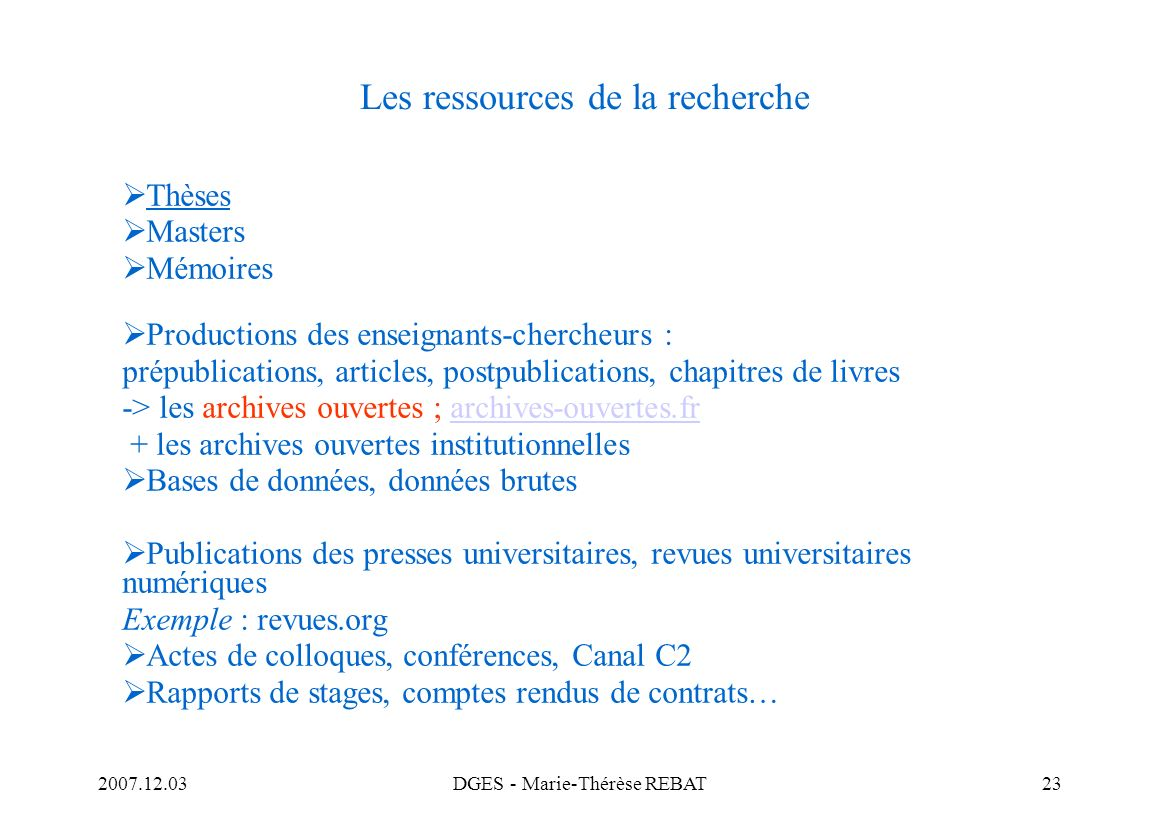 Les ressources de la recherche