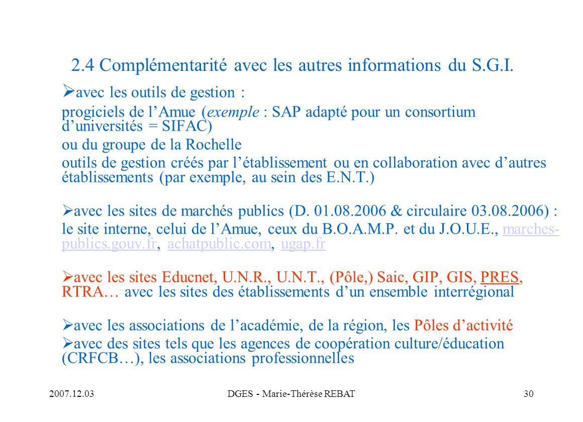 2.4 Complémentarité avec les autres informations du S.G.I.