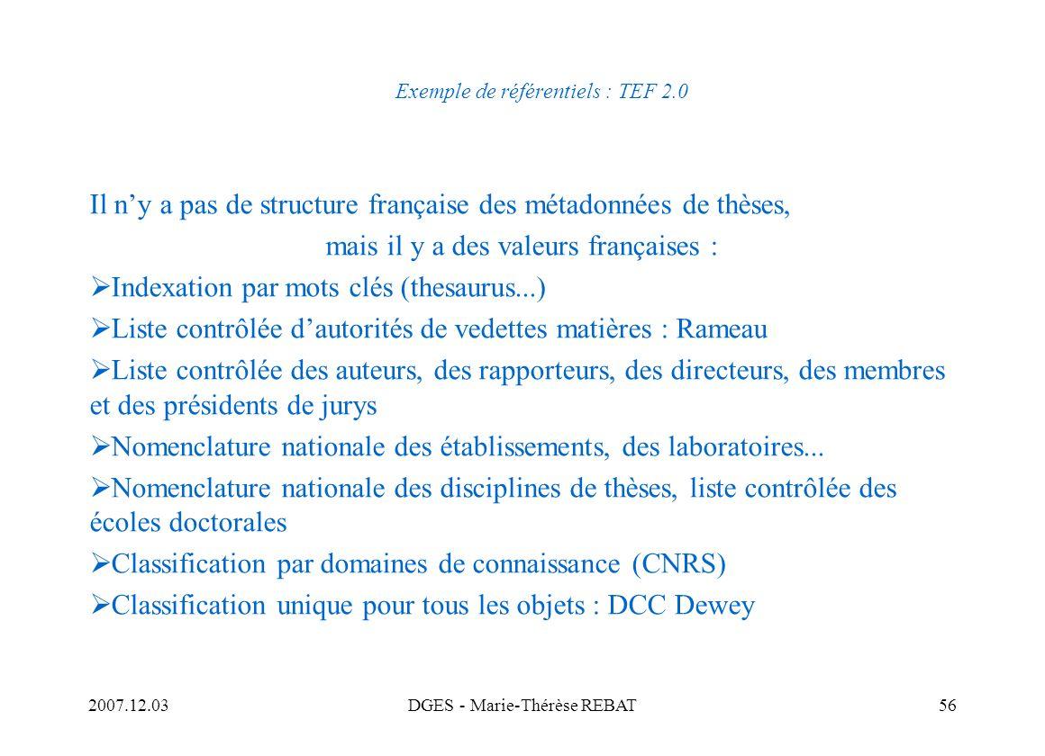 Exemple de référentiels : TEF 2.0