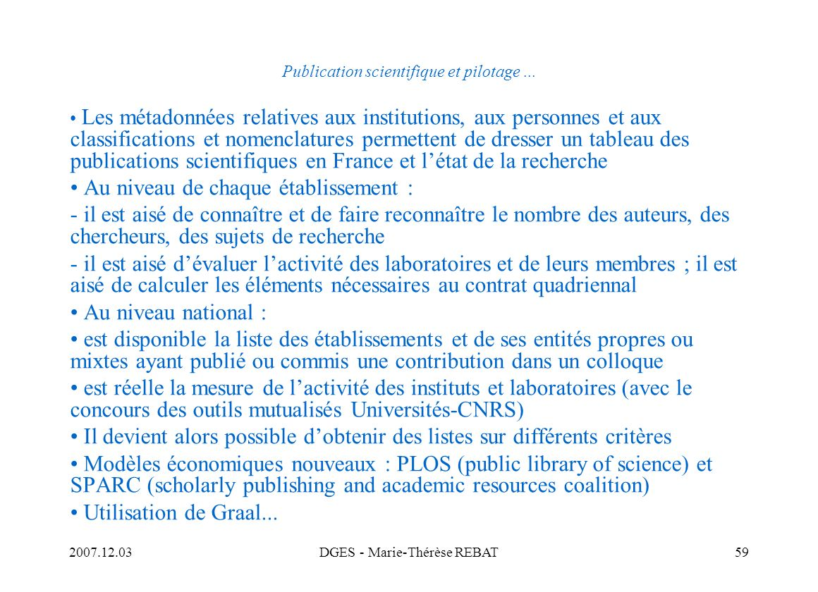 Publication scientifique et pilotage ...