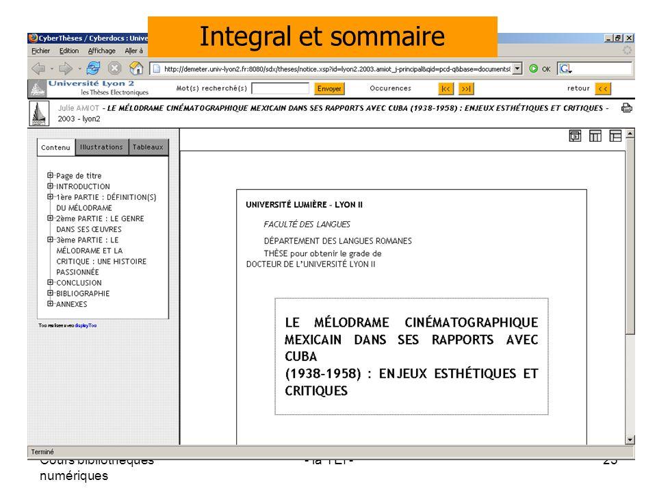 Integral et sommaire Cours bibliothèques numériques - la TEI -