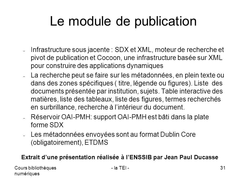 Le module de publication