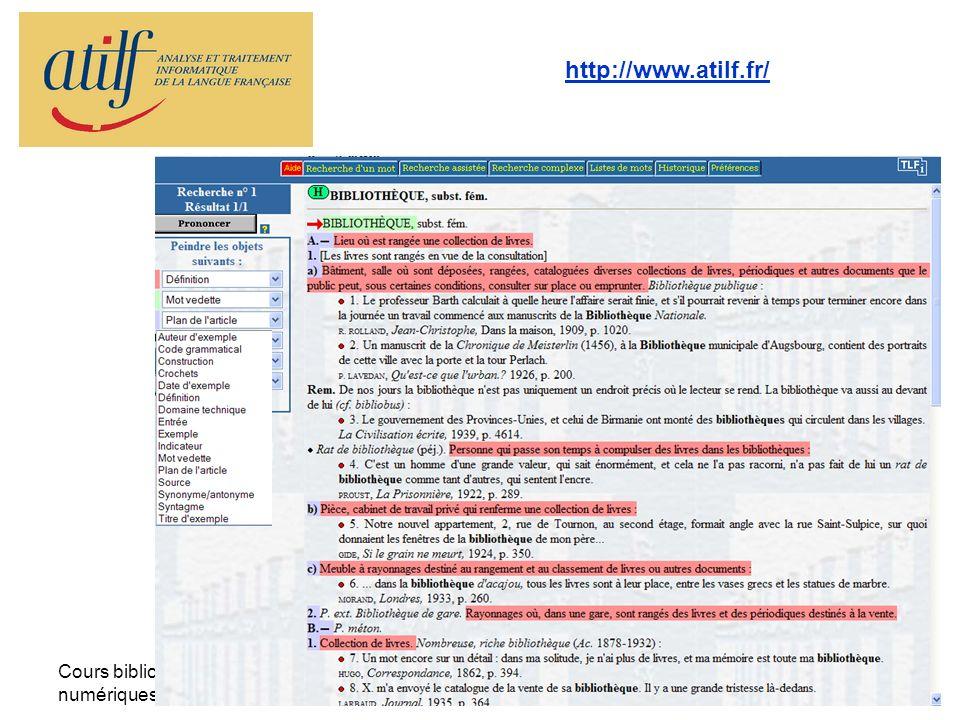 http://www.atilf.fr/ Cours bibliothèques numériques - la TEI -