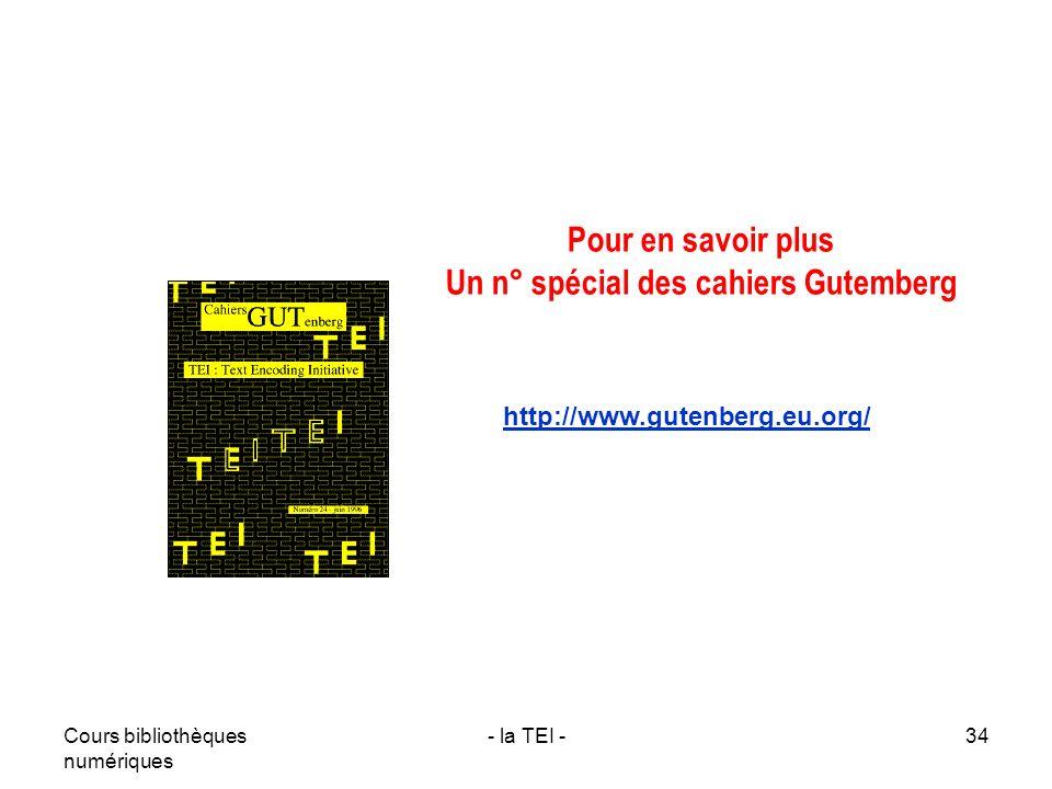 Un n° spécial des cahiers Gutemberg