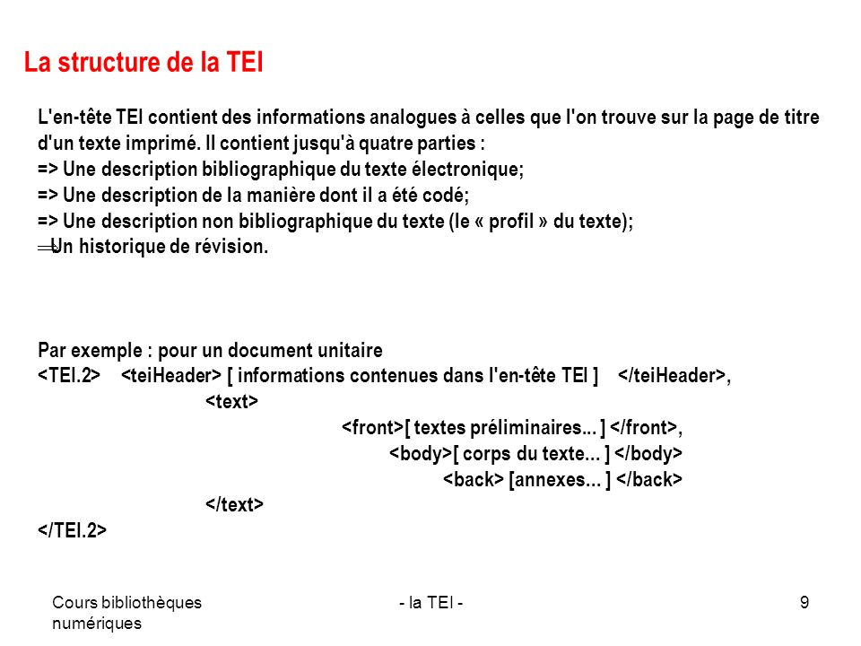 La structure de la TEI