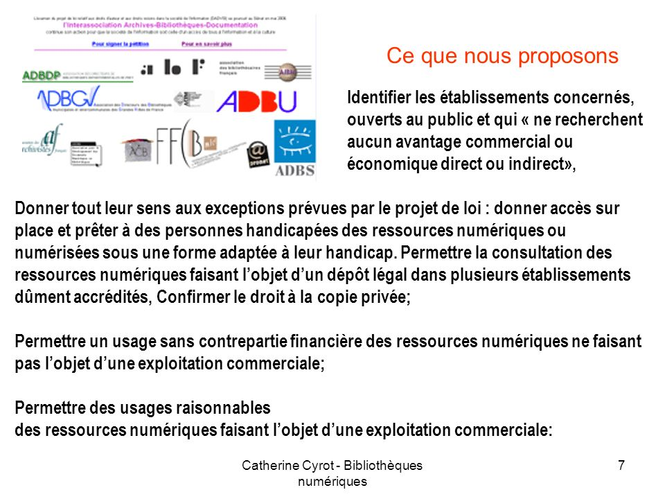 Catherine Cyrot - Bibliothèques numériques
