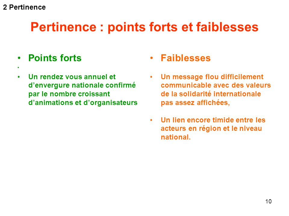 Pertinence : points forts et faiblesses