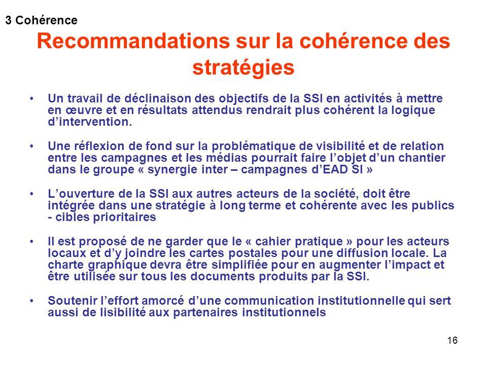 Recommandations sur la cohérence des stratégies