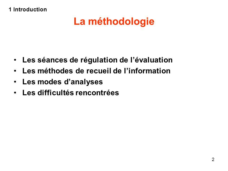 La méthodologie Les séances de régulation de l'évaluation