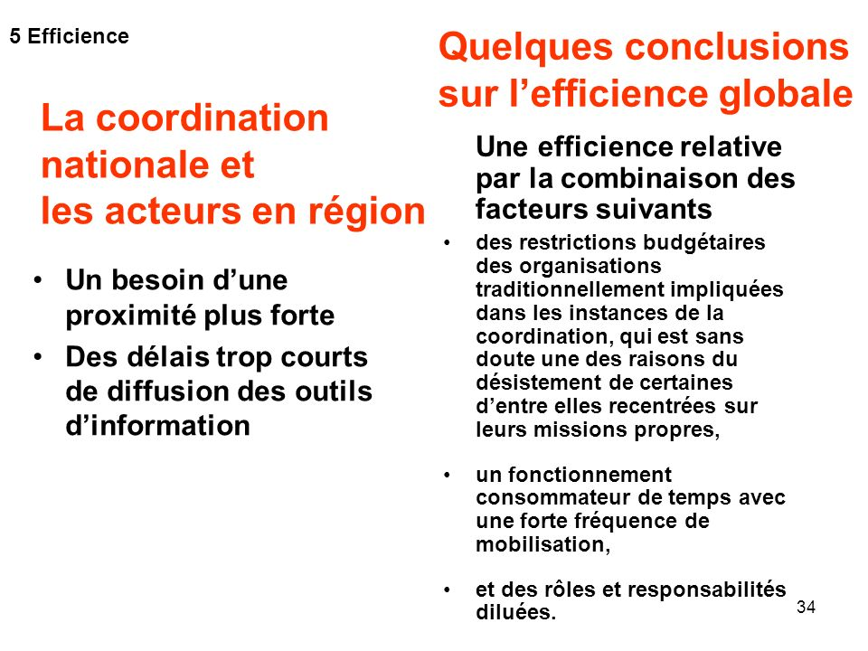 sur l'efficience globale La coordination nationale et