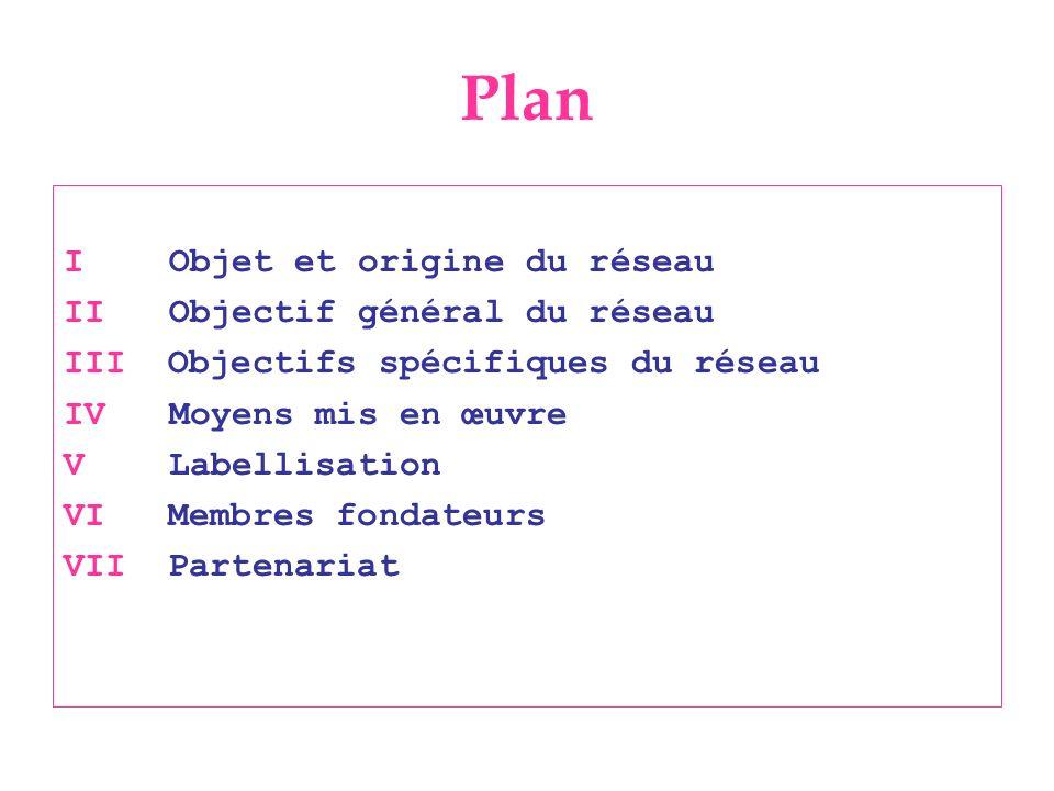 Plan I Objet et origine du réseau II Objectif général du réseau