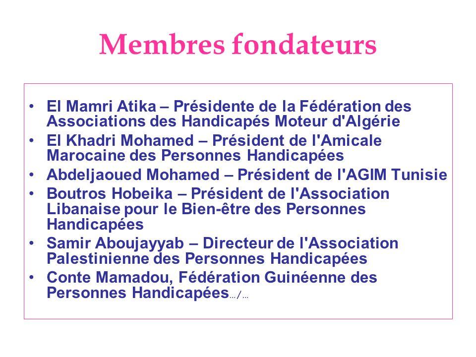 Membres fondateursEl Mamri Atika – Présidente de la Fédération des Associations des Handicapés Moteur d Algérie.