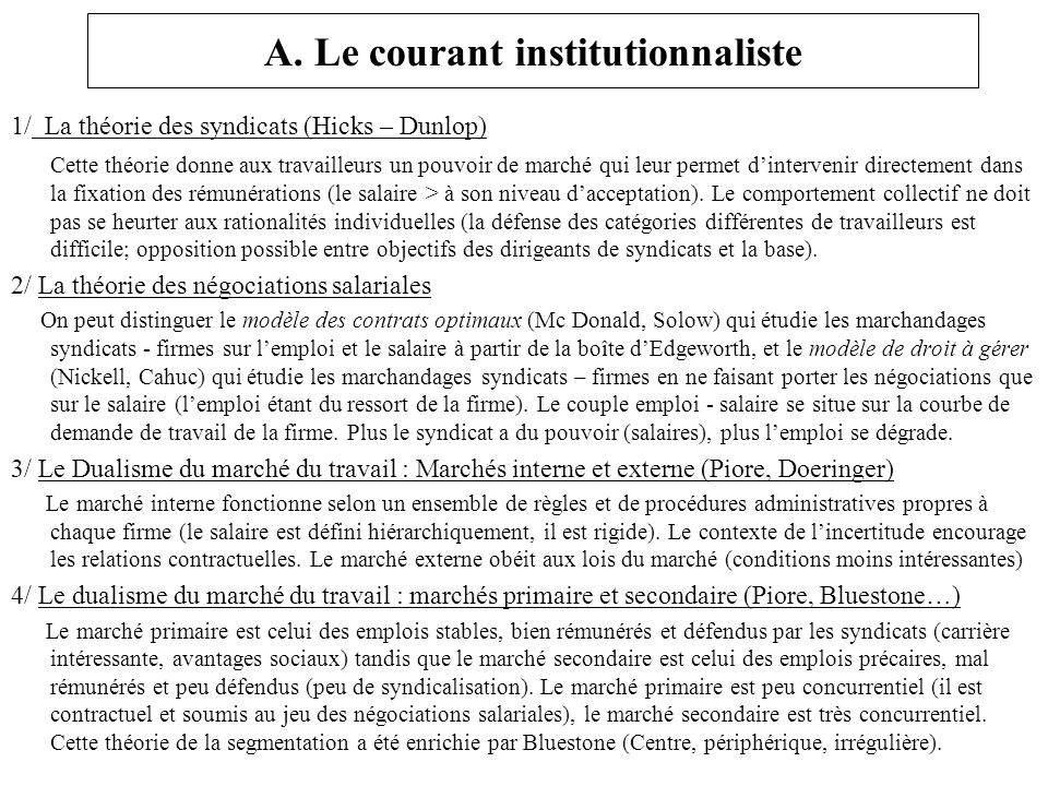 A. Le courant institutionnaliste