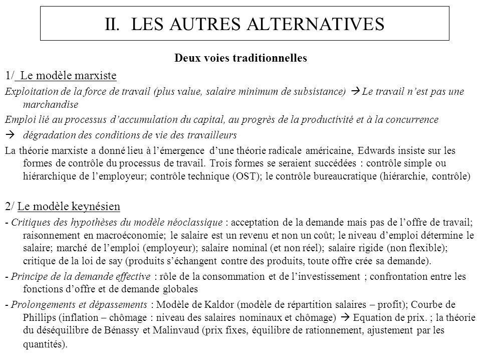 II. LES AUTRES ALTERNATIVES