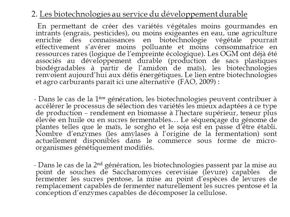 2. Les biotechnologies au service du développement durable