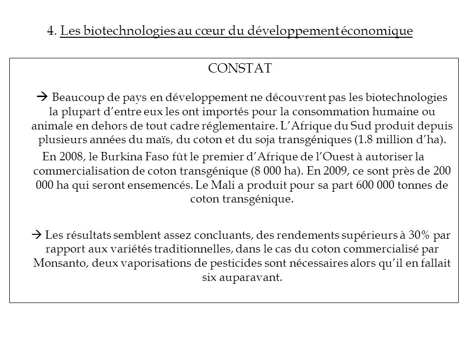 4. Les biotechnologies au cœur du développement économique