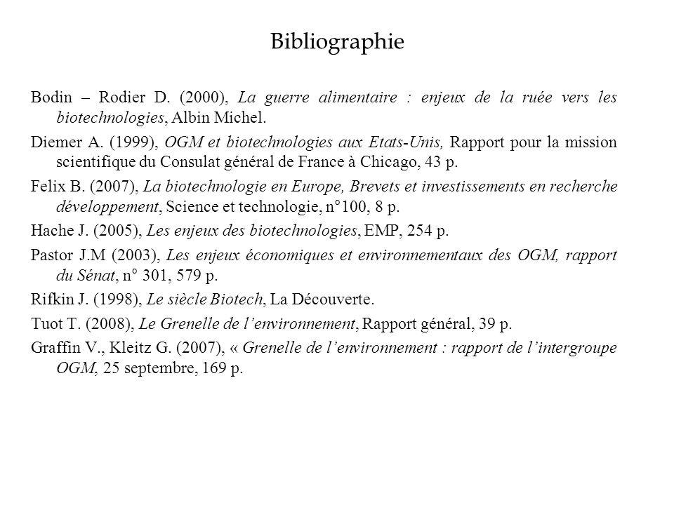 Bibliographie Bodin – Rodier D. (2000), La guerre alimentaire : enjeux de la ruée vers les biotechnologies, Albin Michel.