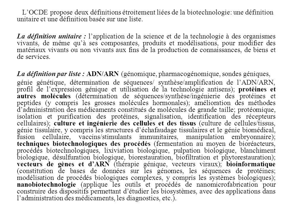 L'OCDE propose deux définitions étroitement liées de la biotechnologie: une définition unitaire et une définition basée sur une liste.