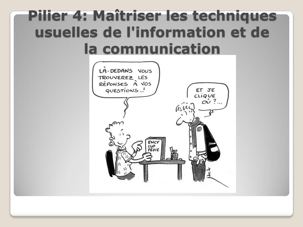 Pilier 4: Maîtriser les techniques usuelles de l information et de la communication