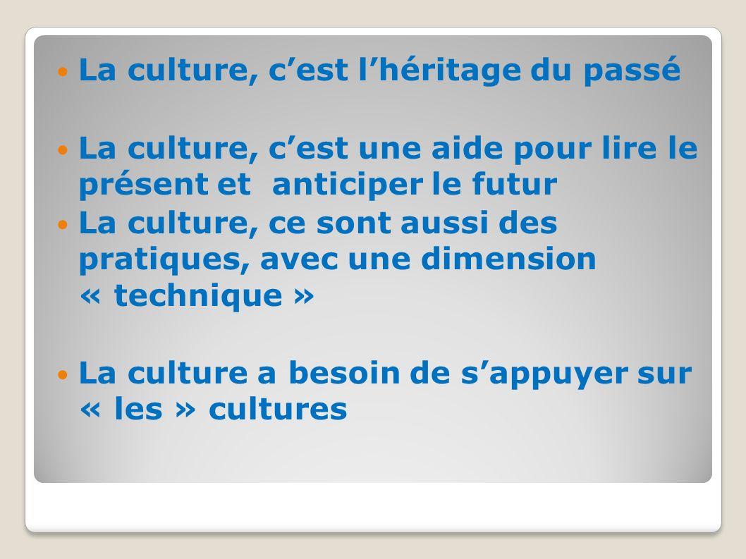 La culture, c'est l'héritage du passé