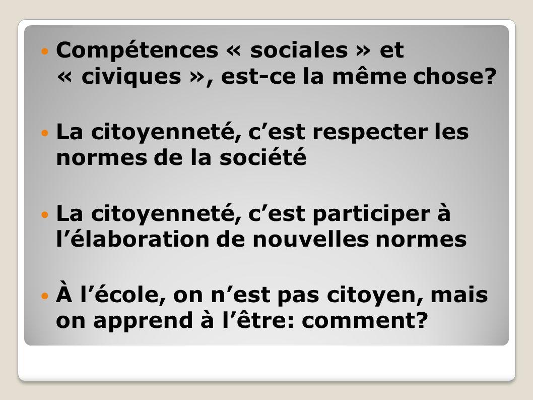 Compétences « sociales » et « civiques », est-ce la même chose