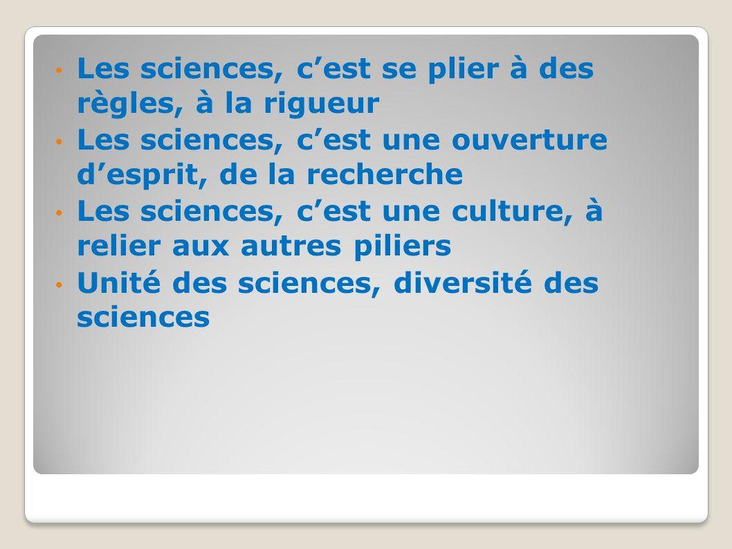 Les sciences, c'est se plier à des règles, à la rigueur