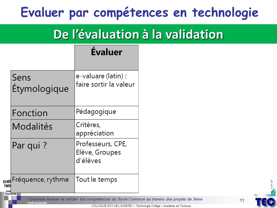 Evaluer par compétences en technologie De l'évaluation à la validation