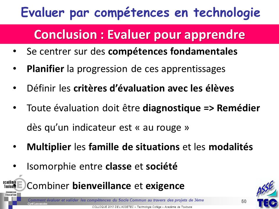 Conclusion : Evaluer pour apprendre