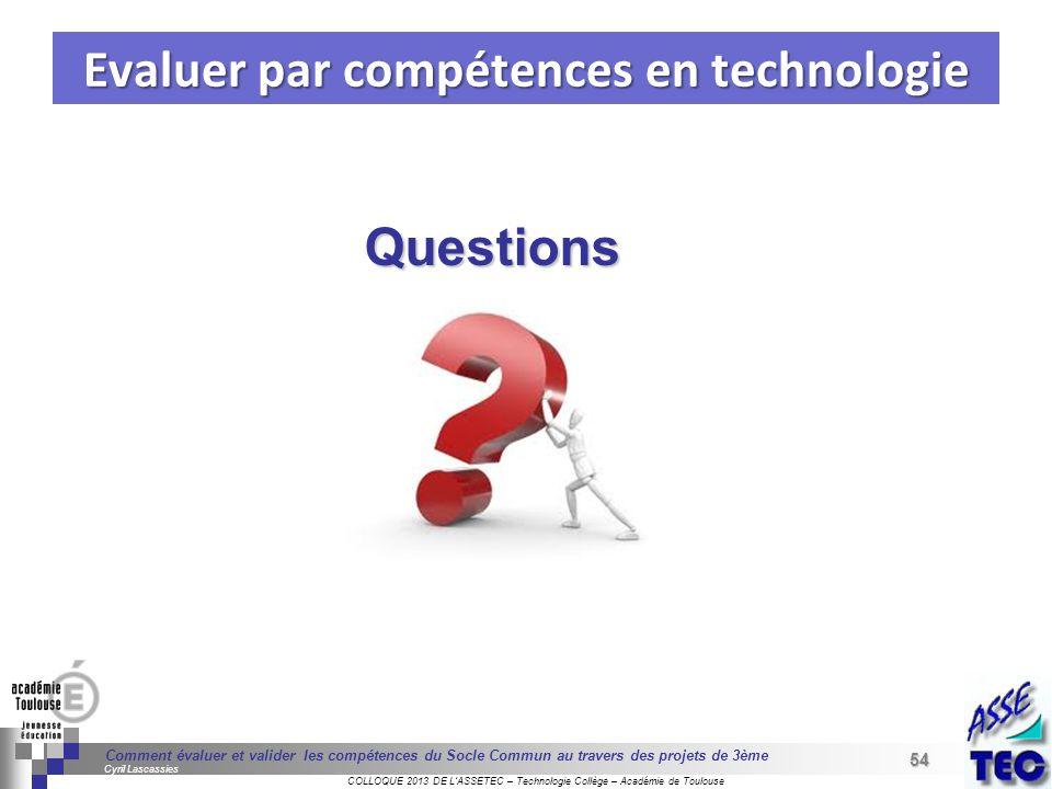 Evaluer par compétences en technologie