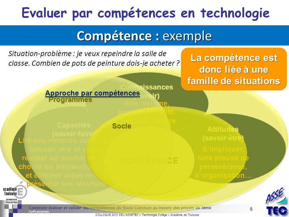 Compétence : exemple Evaluer par compétences en technologie