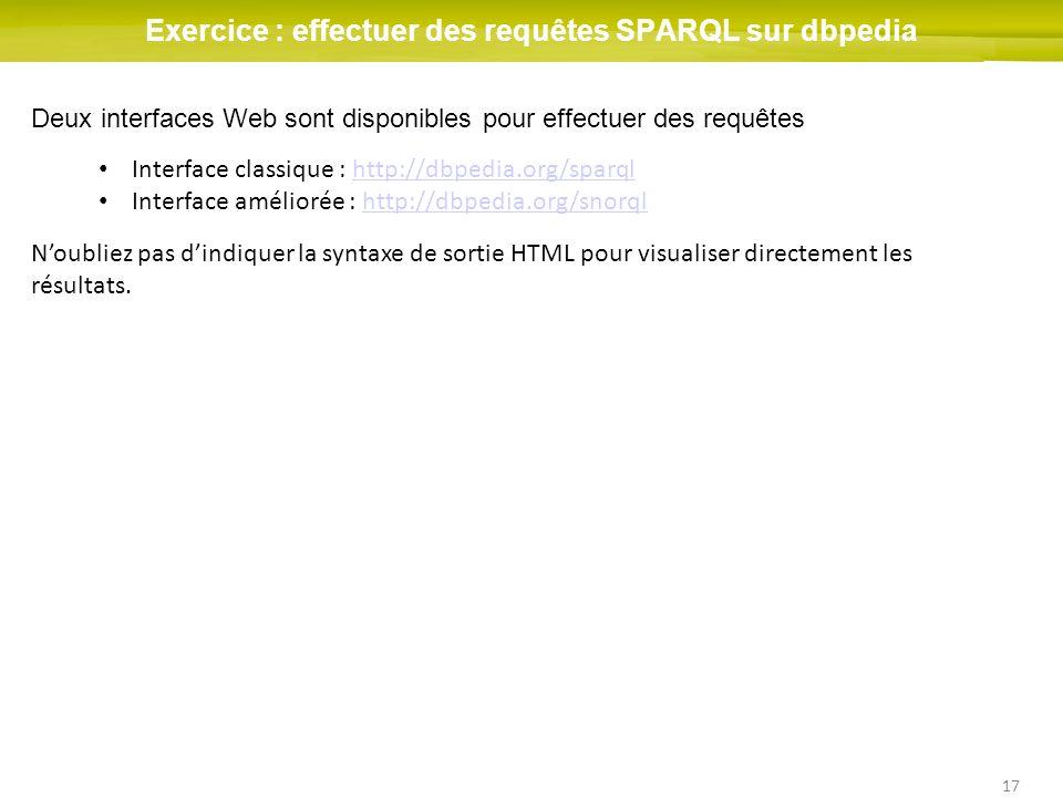 Exercice : effectuer des requêtes SPARQL sur dbpedia