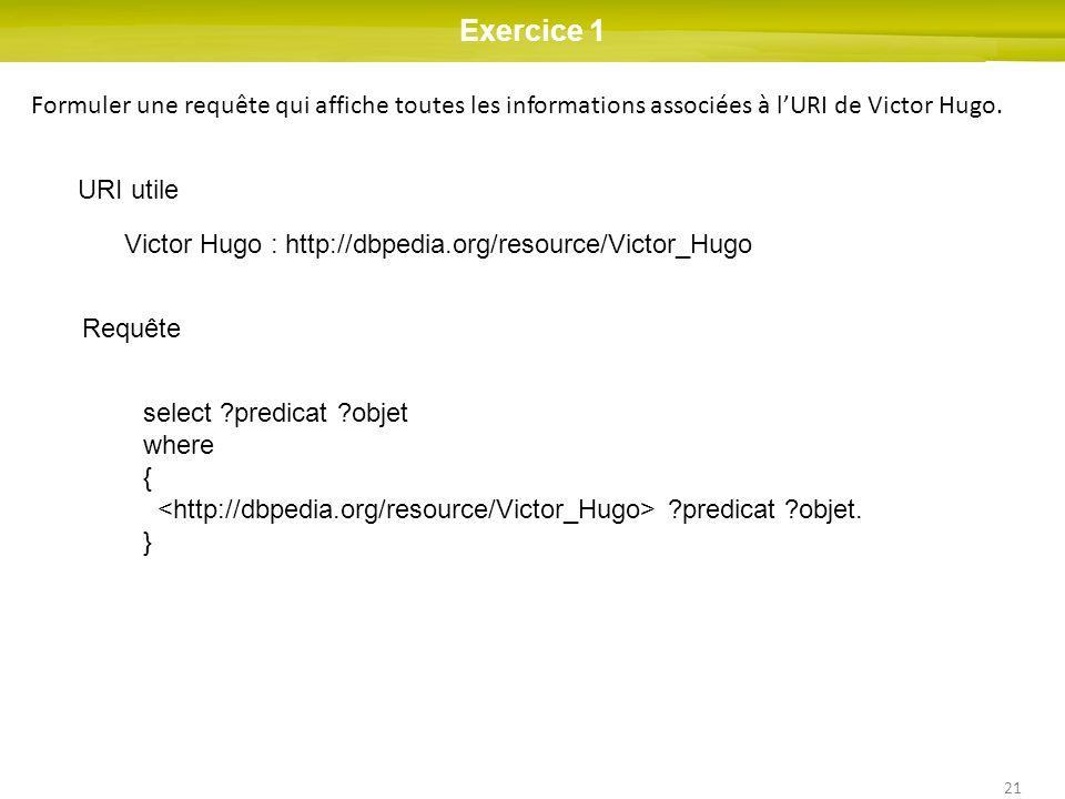 Exercice 1 Formuler une requête qui affiche toutes les informations associées à l'URI de Victor Hugo.